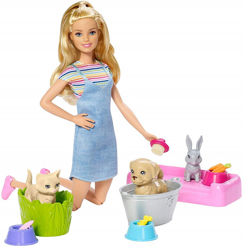 Mattel Barbie Kąpiel Zwierzątek Zestaw Z Lalką Fxh11